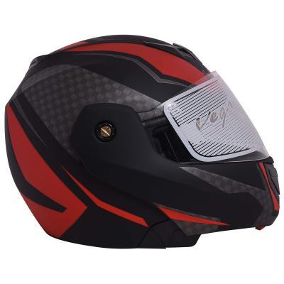 Vega Crux DX Checks Full Face Helmet (Dull Black and Green, Medium)