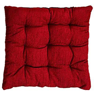 Story@Home Square Corduroy Chair Pad - 14x14 Inch Maroon