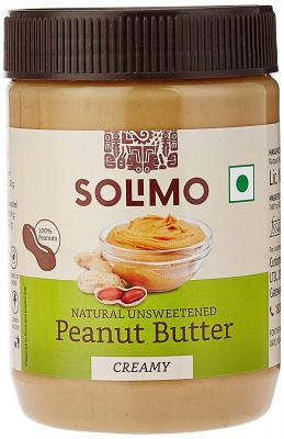 Amazon Brand - Solimo Natural Unsweetened Peanut Butter, Creamy, 500 g