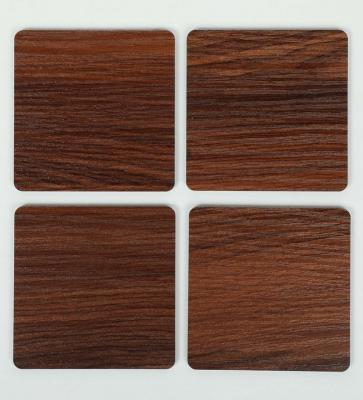 Wooden Brown 4 Square Coasters by Reinvention Factory