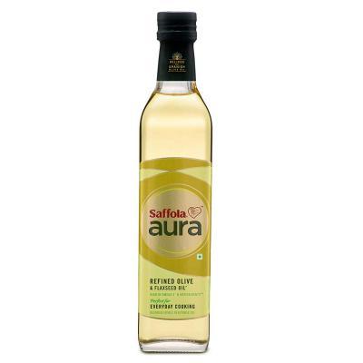 Saffola Aura Refined Olive & Flaxseed Oil, 500 ml