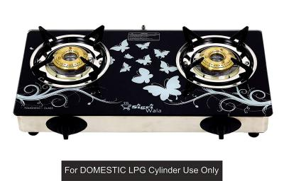SIGRI-WALA AUTO Ignition Stainless Steel Black Design 2 Burner Gas Stove (Auto Ignition 2 Burner) for Domestic LPG Only