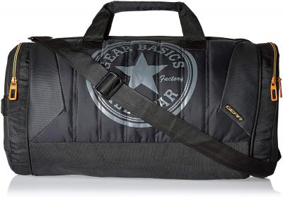 Gear Polyester 47 cms Black and Orange Travel Duffel (METDFPRO20106)