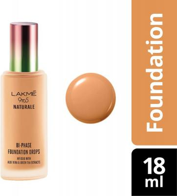 Lakme 9 to 5 Naturale Foundation Drops, Natural Almond, 18 ml
