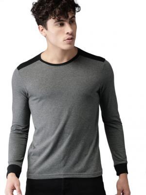 Moda Rapido Color Block Men Round Neck Grey, Black T-Shirt