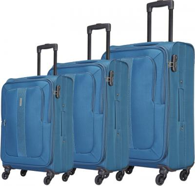 Aristocrat 3Pcs soft Trolley Set Blue (58,69,79 cm) Expandable  Check-in Luggage - 31 inch Blue