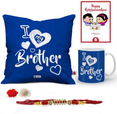 Designer Set  (1 Rakhi, 1 Cushion Cover, 1 Cushion Filler, 1 Coffee Mug, 1 Roli Chawal Packet, 1 Greeting Card)