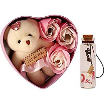 Lata Heart Shape Box with 3 Flower, Message Bottle and Cute Teddy Combo, Message Pills, Soft Toy Gift Set