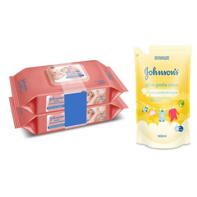 Johnson's Baby Wipes 80's (Pack of 2) + Johnson's Ultra Gentle Clean Baby Laundry Detergent 500ml