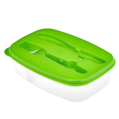 Amazon Brand - Solimo Rectangular Lunch Box with Fork and Knife, 1.2 Litre, Green