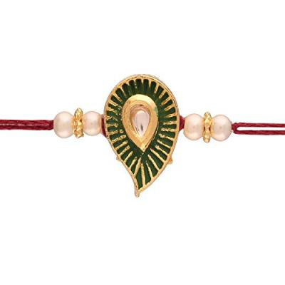 I Jewels Gold Plated Kundan and Pearl Rakhi for Beloved Brother (R606)