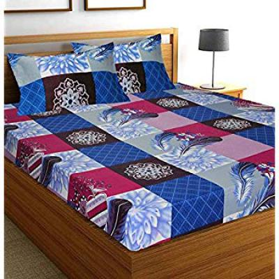 DECO READY Glace Cotton Double Bed Floral Design Print Cotton King Size Double 1 Bedsheet with 2 Pillow Covers