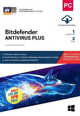 BitDefender Antivirus Plus Latest Version with Ransomware Protection (Windows) - 1 User, 3 Years