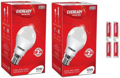 Eveready 10W LED Bulb Pack of 2 with Free 4 Batteries