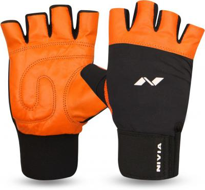 Nivia Leather with Wrist Band Gym &Fitness Gloves