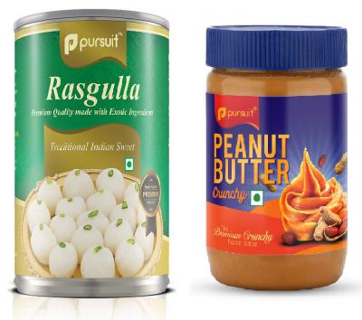 Pursuit Rasgulla (500 g) & Crunchy Peanut Butter (510 g ) Combo