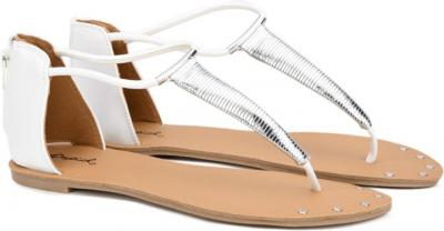 QUPID Women Silver, White Flats