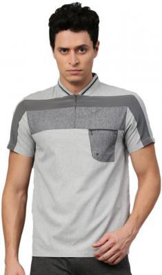 HRX by Hrithik Roshan Self Design Men Mandarin Collar Grey T-Shirt