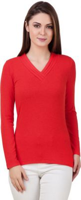 Texco Casual Full Sleeve Solid Women Red Top