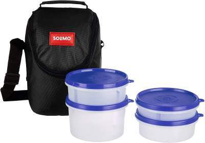 Amazon Brand - Solimo Plastic Lunch Box with Bag, Set of 4