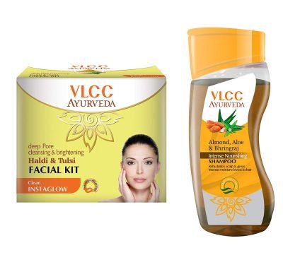 VLCC Haldi Tulsi Facial Kit and Ayurveda Shampoo Combo: Amazon.in: Beauty
