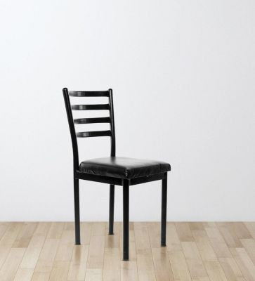 Streak Ladder Back Visitor Chair in Black Color By Furniease