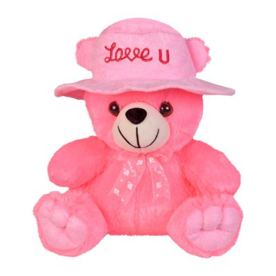 Ultra Cap Teddy with Love You Stuffed Soft Toy Gift, Pink (9-inch)