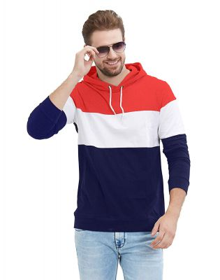 LEWEL Men's Full Sleeve Red, White, Navy Hooded T-Shirt (100% Cotton, Bio-Washed)