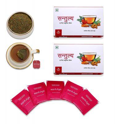 Santulya Organic Herbal Tea for Detox, Energy & Immunity - 50 Unbleached Tea Bags