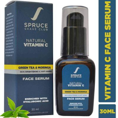 Spruce Shave Club Vitamin C Face Serum with Green Tea & Moringa For Anti Ageing, Anti Acne & Skin Brightening (30ml)