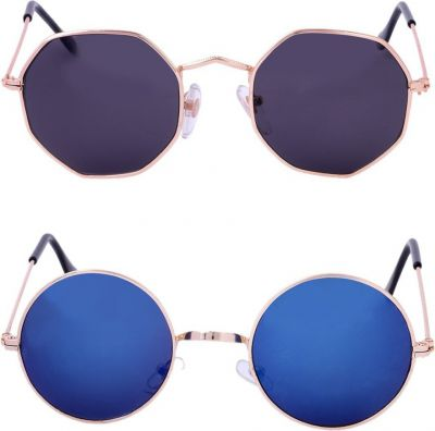 Amour-Propre Retro Square, Round Sunglasses Multicolor For Men & Women
