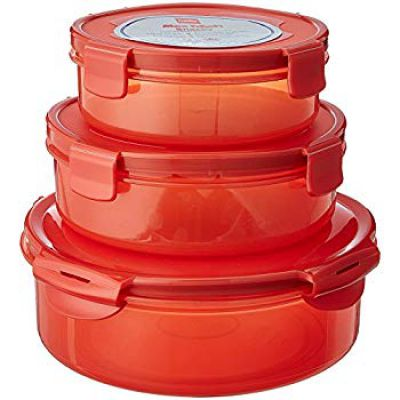 Cello Max Fresh Snacky Plastic Storage Container Set, 3-Pieces, Red