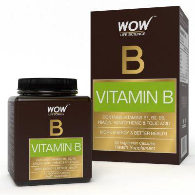 Wow 150Mg Vitamin B Capsules - 60 Vegetarian Capsules (Vitamins B1, B2, B6)