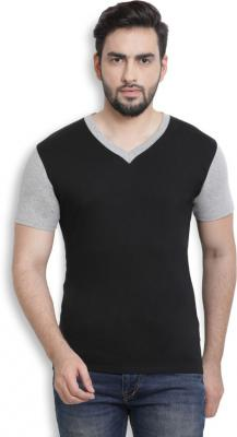 Billion PerfectFit Solid Men V-Neck Black, Grey T-Shirt