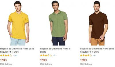 Top Brands Men's Polo T-shirts at Rs.200