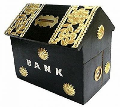 Worthy Fancy Shoppee Handicrafted Wooden Money Bank With Hut Shaped-Black
