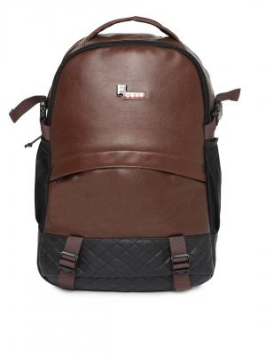 F Gear Unisex Brown & Black Solid Leather Backpack