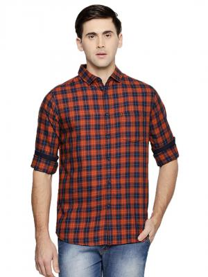 Dennis Lingo Men's Checkered Mustard Slim Fit Casual Shirt
