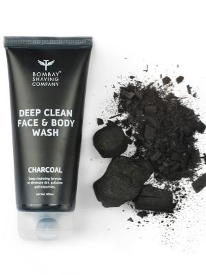 Bombay Shaving Company Activated Charcoal Face & Body Wash for removing dirt and impuritities with Anti-Pollution Effect - 200 ml