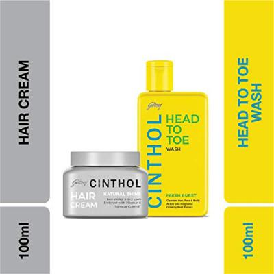 Cinthol Hair and Body Care Fresh Burst Plus Natural Shine Combo, 290ml