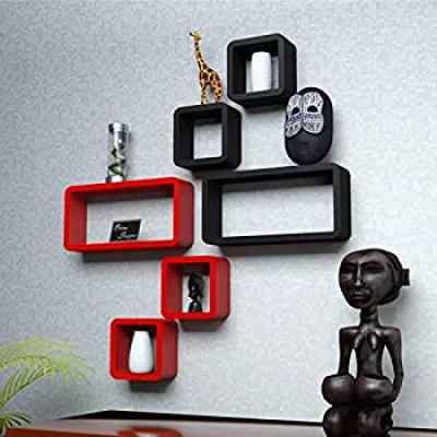 Onlineshoppee Cube Floating Wall Shelf, Set of 6 (Red)