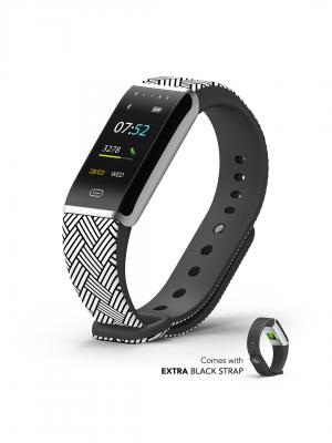 Blink GO - Zig Silver (extra Black Strap) Fitness Wearable Band