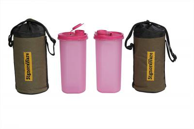 Signoraware Kids Water Bottle with Bag Set, 650ml, Set of 2, Pink