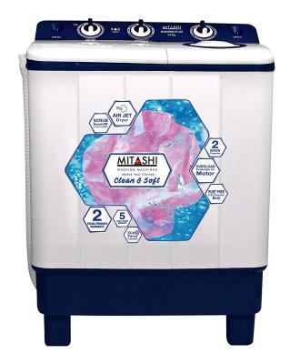 Mitashi 6.5 kg Semi-Automatic Top Loading Washing Machine (MiSAWM65V35 AJD, Blue)