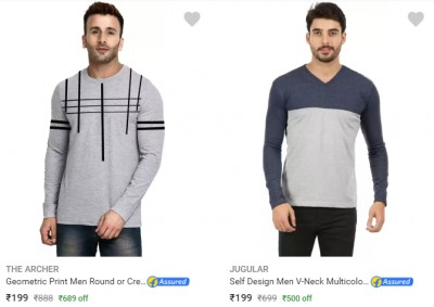 Men's Full Sleeeve Men's Tshirt under Rs.200