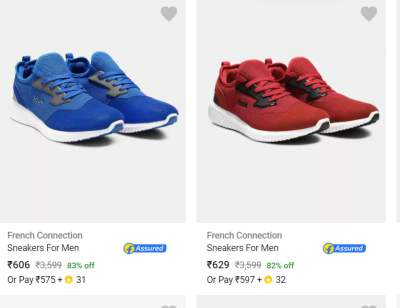 FCUK, French Connection Shoes Minimum 40 Off
