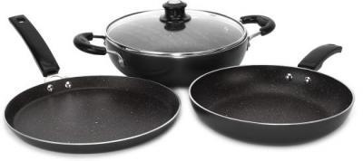 Induction Bottom Splatter Finish Cookware Set of 3...