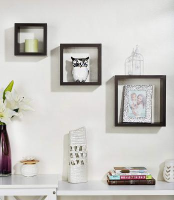 Solimo Square-Shaped Nesting Wall Shelf, Set of 3 (Matte Finish, Wenge)
