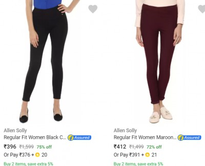 Allen Solly Women's Trousers at 90% off