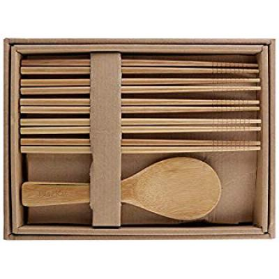 ClazKit Wood Chopsticks and Rice Serving Spoon, 11-Pieces, Brown